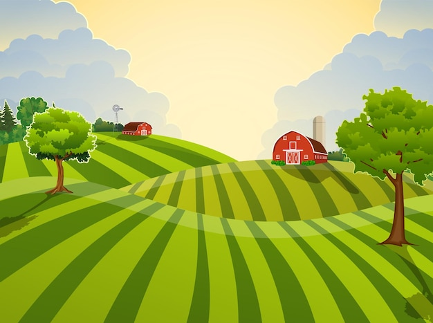 Cartoon farm field green seeding field, red barn on a green farmers field, large field farming striped, farm flat landscape