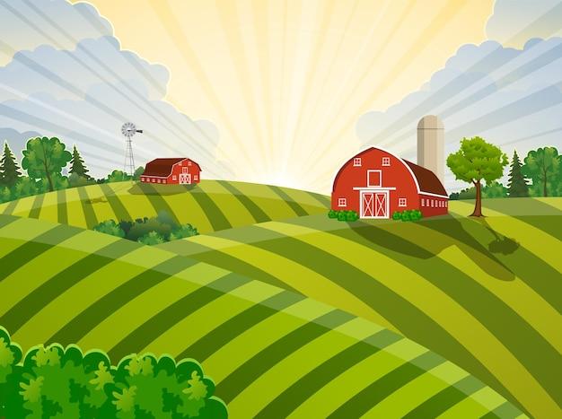 Мультфильм поле фермы зеленое поле посева, красный сарай на зеленом поле фермеров