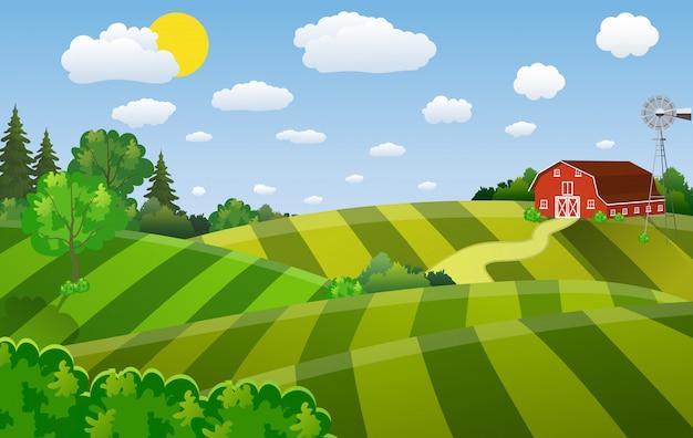 Cartoon farm green seeding field