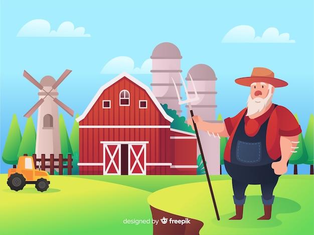 만화 농장 풍경 배경