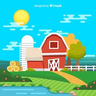 Cartoon farm landscape