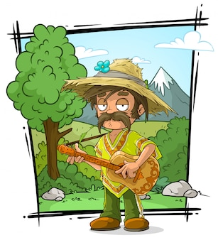 Cartoon farmer character in straw hat with guitar