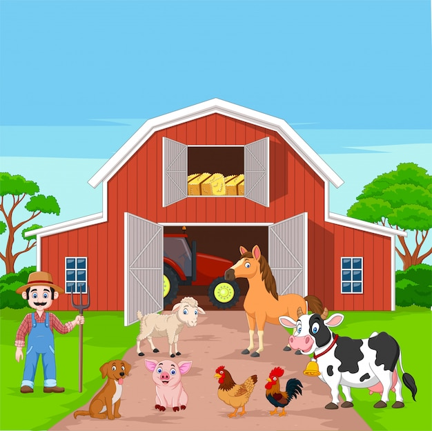 Cartoon farmer and farm animals in the barnyard