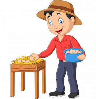Cartoon farmer holding a basket of eggs on a white background