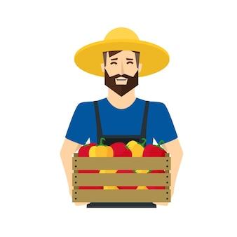 나무 상자 유기농 식품 농장 평면 디자인 스타일과 야채를 들고 만화 농부.