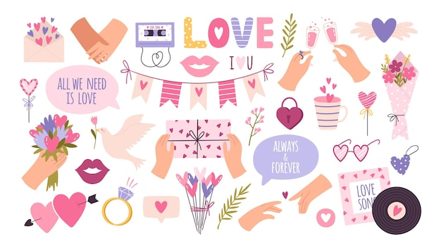 Cartoon fashion love stickers and patches for valentine day. heart balloon, hands of couple, lip kisses, dove and letter. diary vector set. romantic holiday celebration, accessories