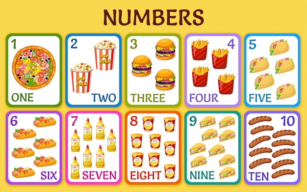 Cartoon fast food. children cards numbers.