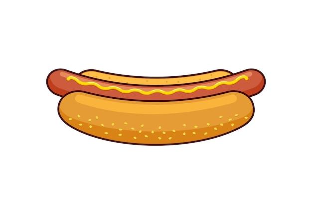 Cartoon fast food hotdog with black linear border. hot dog sausage in bread bun with mustard isolated flat vector illustration