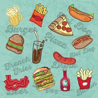 Мультфильм иконки быстрого питания на синем фоне векторные иллюстрации