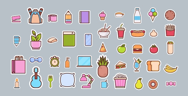 Cartoon fast food and items different icons collection
