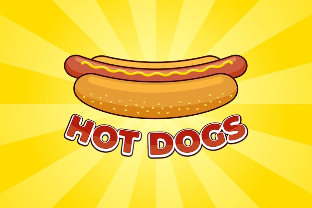 Cartoon fast food meal hot dog with inscription restaurant advertising poster design template. hotdog sausage in bread with mustard flat vector promo illustration on yellow rays