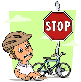 Cartoon fat boy character with bicycle and sign