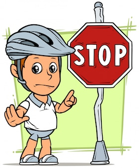 Cartoon fat boy character with stop traffic sign