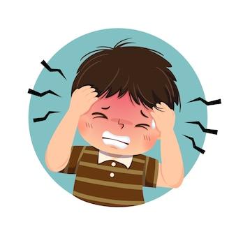 치통으로 고통받는 만화 뚱뚱한 소년