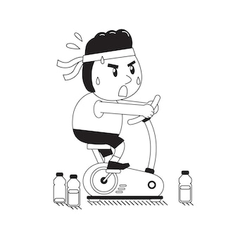 Cartoon a fat man riding exercise bike