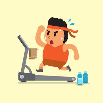 Cartoon fat man running on treadmill