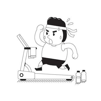 Cartoon fat man running on treadmill