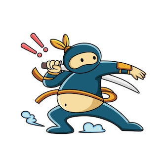 Cartoon fat ninja is getting ready with his sword
