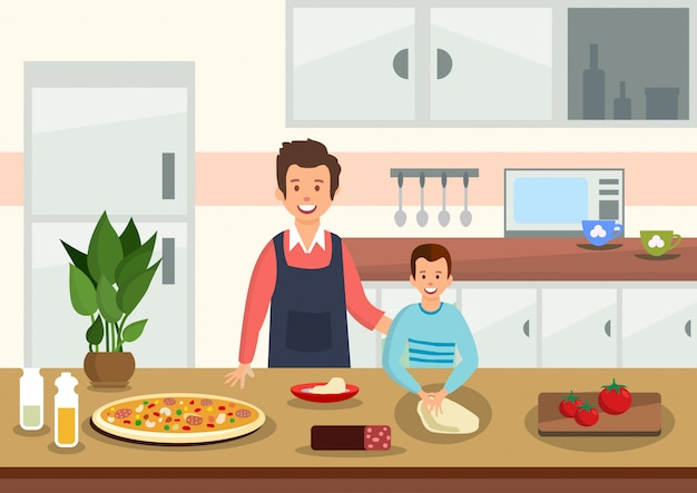 Cartoon father helps son to knead dough for pizza.