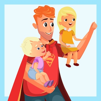 Cartoon father play superhero with son daughter