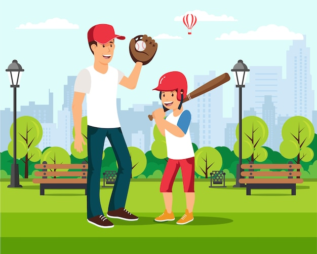 Cartoon father plays baseball with son in park