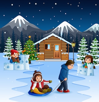 Cartoon father pulling a son on a sled in winter background