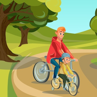 Cartoon father ride bike son on bicycle in park