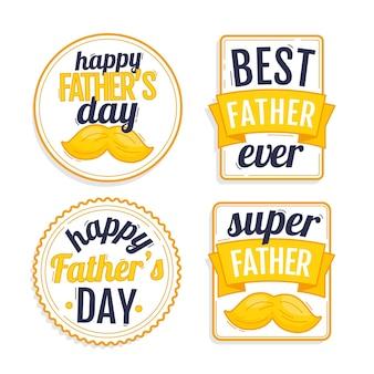 Collezione di badge per la festa del papà dei cartoni animati