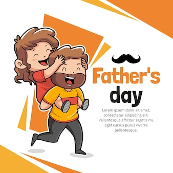 Cartoon father's day illustration