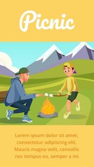 Cartoon father son grill marshmallow on bonfire