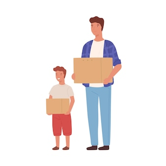 Cartoon father and son holding cardboard box isolated on white background. happy family moving carry things packing at paper container vector flat illustration. male character relocation.