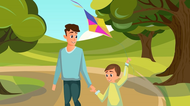 Cartoon father son in park kid with flying kite