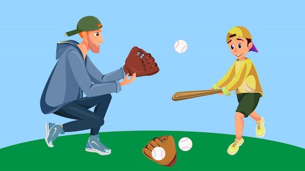 Cartoon father and son playing baseball boy hit