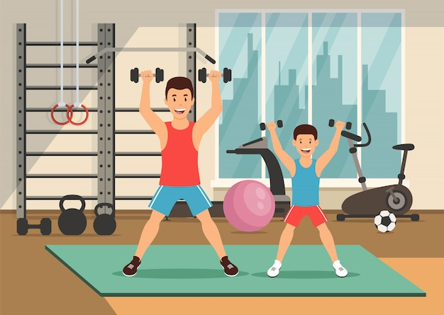 Cartoon father and son with dumbbells.
