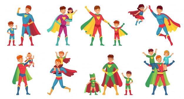 漫画の父のスーパーヒーロー。幸せな父の日、子供とヒーローのお父さんイラストセットを持つスーパー親