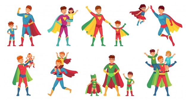 Cartoon father superhero. happy fathers day, super parent with kids and hero dad  illustration set