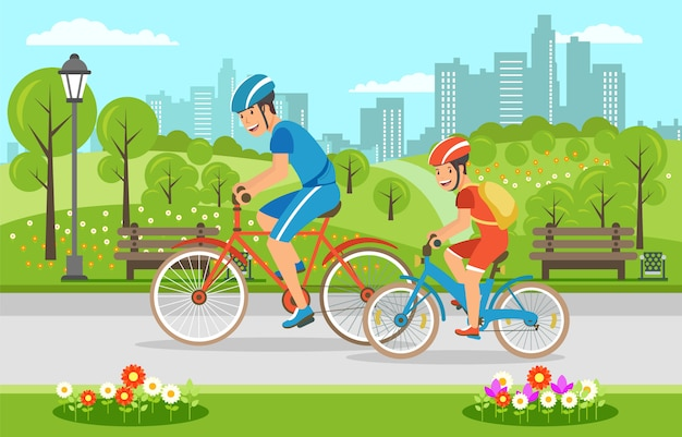 Cartoon father with son riding on bicycles in park