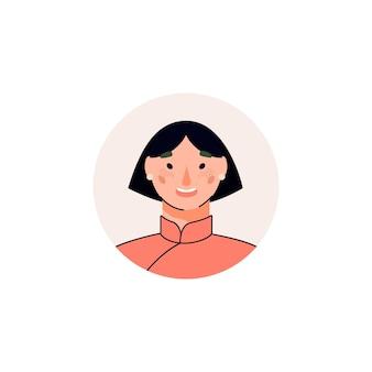 짧은 검은 머리를 가진 만화 여성 아바타 행복 한 아시아 여자