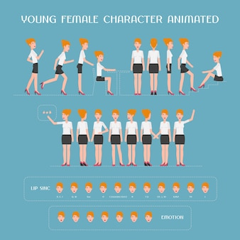 Cartoon female character animation set. constructor of woman with various body parts, standing poses, face expressions