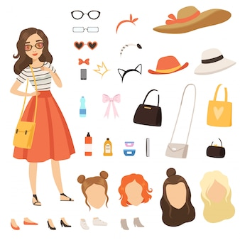 Cartoon female character with various fashion accessories and clothes