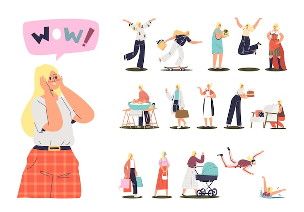Cartoon female character, young girl woman in different situation: mother worker housekeeper and student walking, sitting communicating using modern gadgets. flat vector illustration