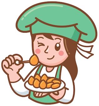Cartoon female chef presenting dessert