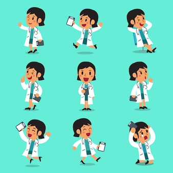 Cartoon female doctor character poses