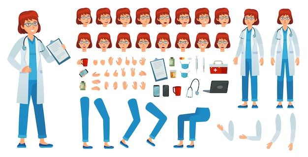 만화 여성 의사 생성 키트. 메딕 여성 키트, 의료 의사 직업 캐릭터 및 약사 여자. 의학 의료 소녀 노동자 또는 간호사 감정. 격리 된 벡터 아이콘 세트