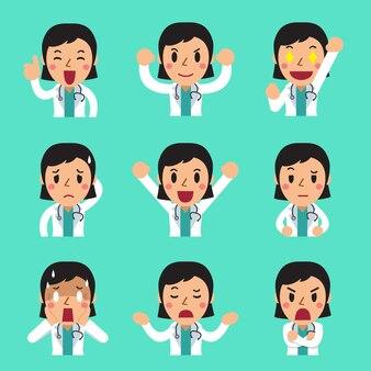 Мультфильм лица женщины-врача, показывающие разные эмоции