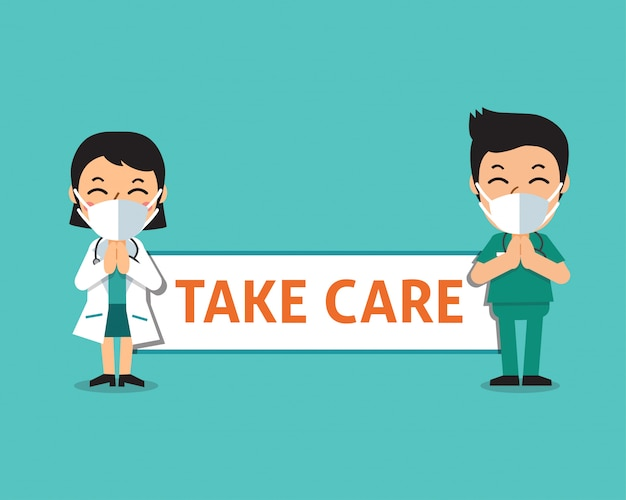 Cartoon female doctor and male nurse wearing protective masks with take care sign