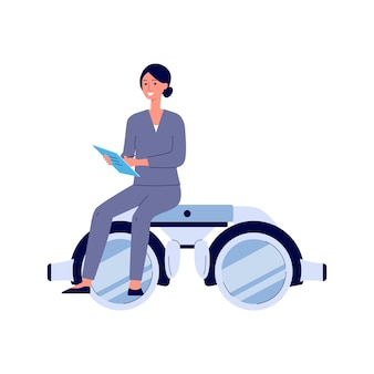 Cartoon female doctor sitting on giant pair of eye sight diagnostic glasses