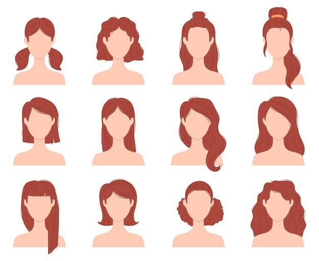 Мультяшная женская модная прическа на короткие, длинные и вьющиеся волосы. голова женщины с прической, хвостиком и булочкой. плоские девушки прически векторный набор