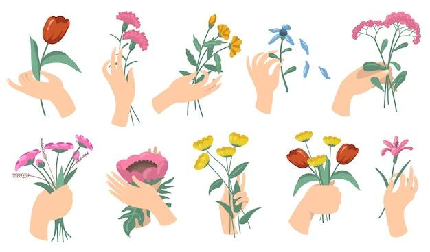 Мультяшные женские руки, держа цветочные букеты. набор тюльпанов, гвоздик, свежих садовых и полевых цветов. векторные иллюстрации для цветения, романтического украшения, концепции флоры
