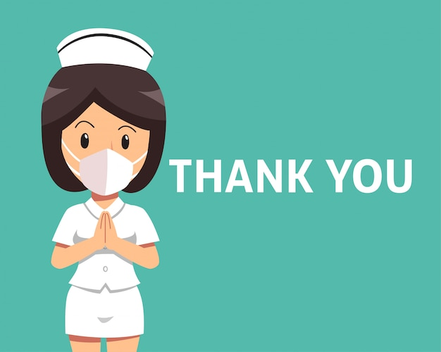 Cartoon female nurse wearing protective mask with thank you word